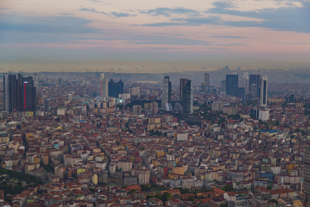 Istanbul view from air shows us amazing sunset scene Stock Photo