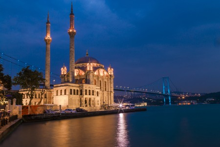 Istanbul, Turkey; June 09 2017: Ortakoy Mosque During twilight with bosphorus