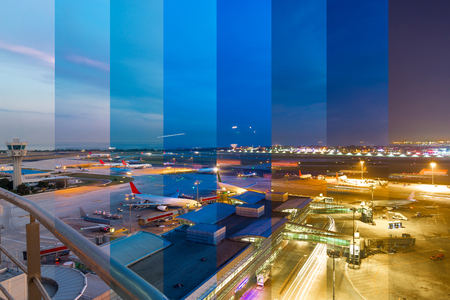 Stacked airport images during twilight