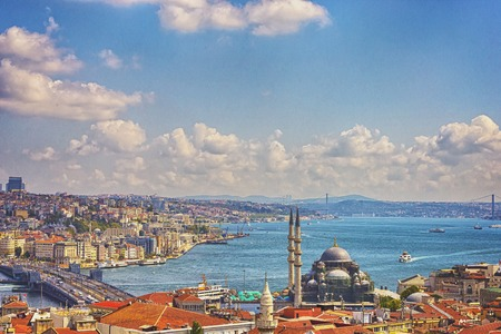 Istanbul Aerial View with Halic and Bosphorus