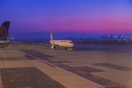 traffic controller: Istanbul, Turkey; October, 22 2017: Turkish Airline Airbus during the push back operation at dawn time