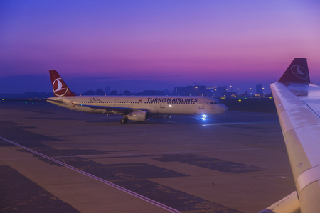 Istanbul, Turkey; October, 22 2017: Turkish Airline Airbus during the push back operation at dawn time