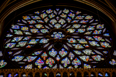 Sainte Chapelle view from Paris with wide angle fish eye lens provides panoramic vision