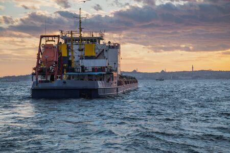 Big size freighter ship in Istanbul Bosporus
