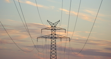 power suppliers: high voltage power pole Stock Photo