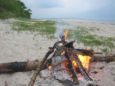 campfire on the beach photo