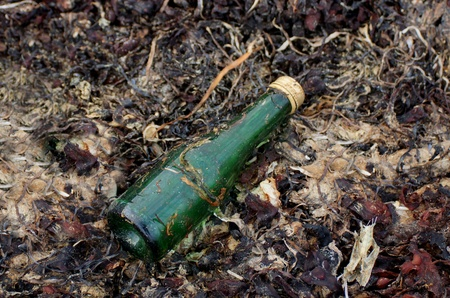 live again: Bottle from green glass on the beach