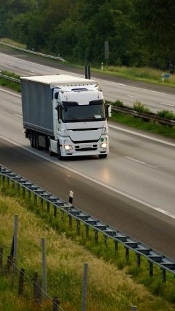 trucks on the highway - dawn