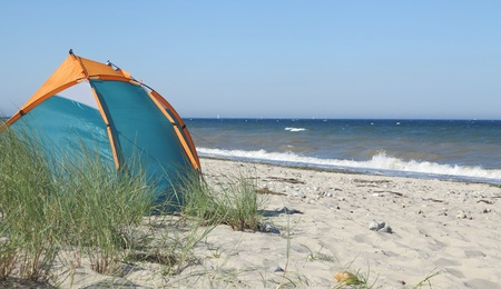 camping on the beach  photo