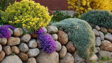 maintained: garden in spring and stones Stock Photo
