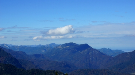 summit of the mountains and beautiful blue sky with clouds above