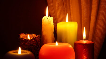 many beautiful glowing candles photo