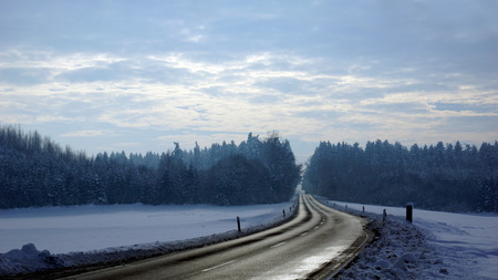 beautiful country road and snow and winter photo