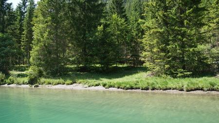 refreshing mountain lake in summer