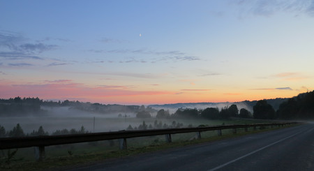 beautiful fog over countryside