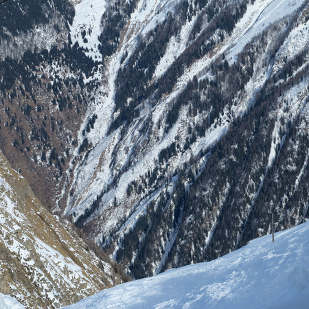 canyons and Abyss and mountains and trees and snow