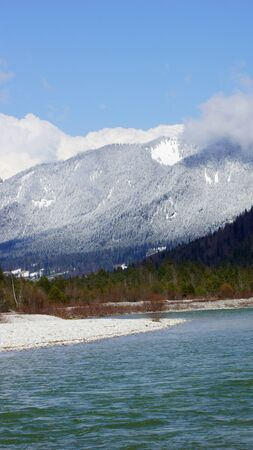 Spring sunny day on the river Isar in Tyrol in Europe and the Alps