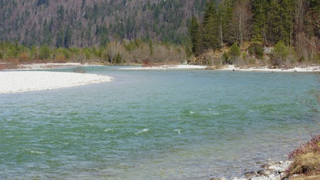 River Isar in Europe and Spring