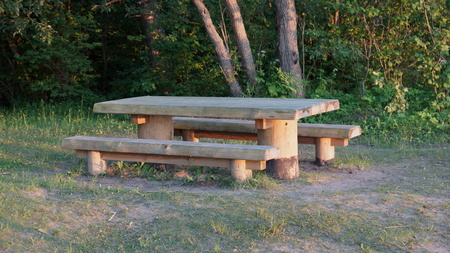 infrastructures: roost and rustic wooden table and benches