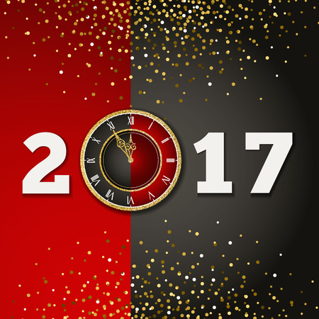 12 days of christmas: 2017 Happy New Year background with gold clock