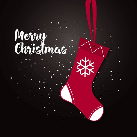 illustration of shiny red Christmas stocking with cool presents. Christmas socks icon