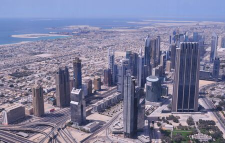 sheik: View on the Sheik Zayed Road from the world highest building, Burj Khalifa