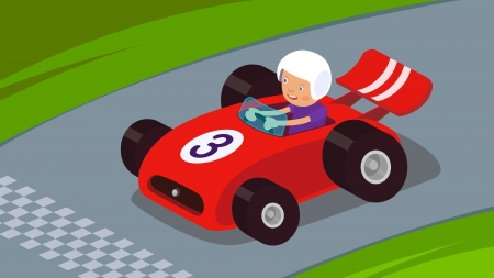Guy driving a race car to success Vector