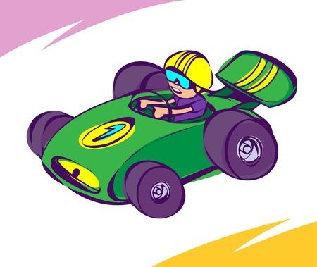 racecar: Guy driving a green race car