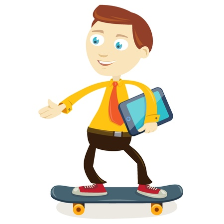 Businessman on the skateboard wearing a tie Vector