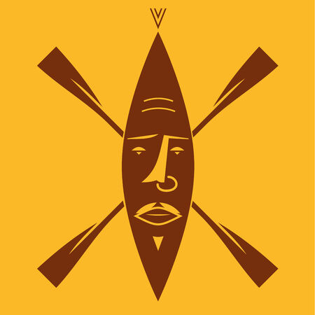 maschera tribale: Tribale africana maschera di vogatori Vettoriali