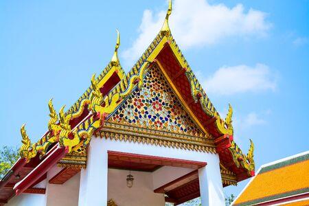 recline: Wat Pho temple roof, Bangkok, Thailand. Selective focus