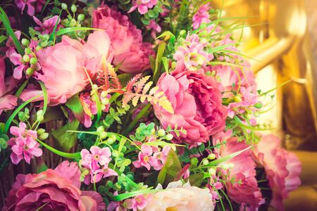 wat traimit: Beautiful rose pink flowers. Wat Traimit. Bangkok, Thailand. Selective focus