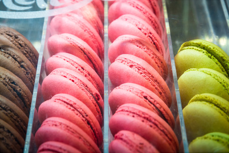 shop for: French macarons in shop for sale. Seletive focus.