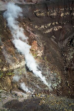 fumarole: Fumarole. Active volcano Goreliy on Kamchatka, Russia. Selective focus