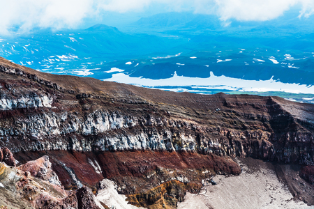 Crater of the volcano Goreliy on Kamchatka, Russia. Selective focus