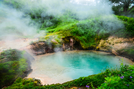The Blue Small Lake in the Legendary Valley of Geysers, Kamchatka, Russia. Selective focus, toned