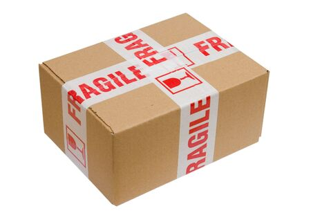 Paper box with fragile sign