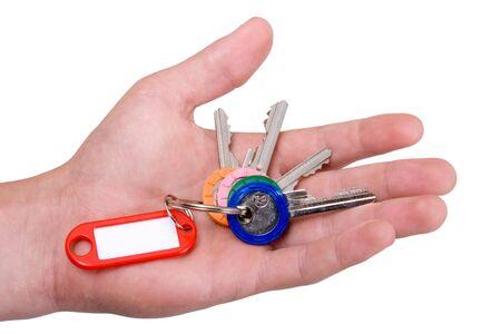 doorkey: Mano azienda chiavi in bianco con etichetta
