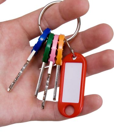 doorkey: Hand holding keys with blank tag
