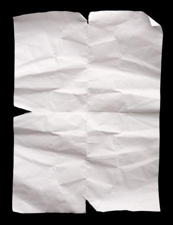 wrinkled paper: wrinkled paper on black background