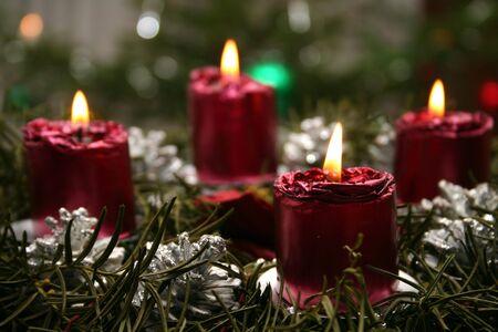 advent candles: An advent wreath.