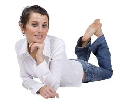 Laying attractive beautiful young woman Stock Photo - 3035272