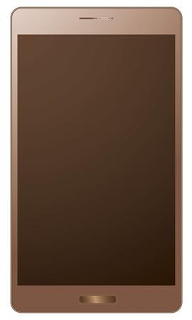 smart phone: golden realistic smart phone Illustration