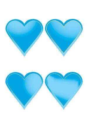 corazones azules: conjunto de corazones azules con gradiente