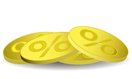 reverse: gold coins with the percentage on the reverse Stock Photo