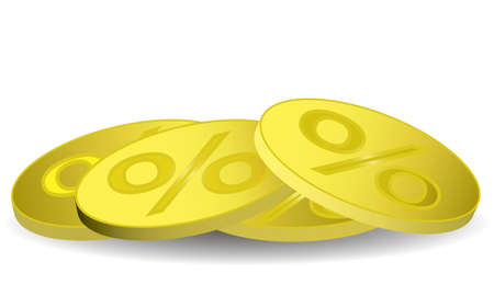 reverse: gold coins with the percentage on the reverse Illustration