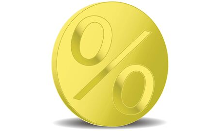 1 gold coin standing with a percent sign