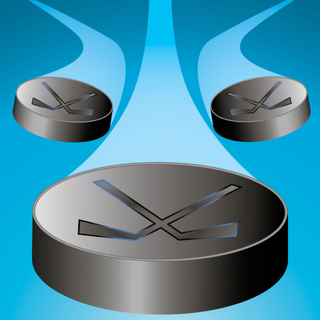 the puck: Three flying hockey puck to the center with the train