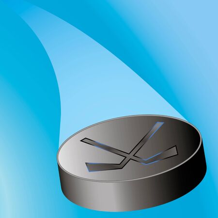 puck: flying hockey puck on the right with a train