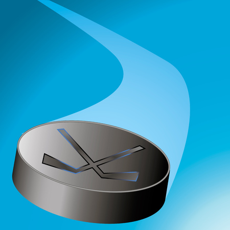 puck: flying hockey puck to the left of the arc with a train